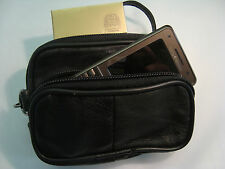 Small Soft Leather Belt Pouch with Wrist Strap Ideal for Travel/Phone/Taxi
