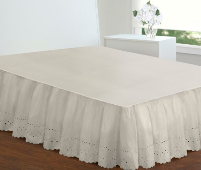 Extra Long Ivory Bed Skirt Cal King Size 18 Inch Drop Eyelet Poplin Dust Ruffle