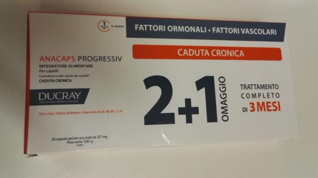 DUCRAY ANACAPS PROGRESSIV, CADUTA CRONICA, 3 MESI DI TRATTAMENTO,1 IN OMAGGIO!