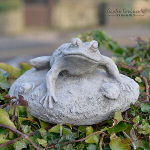 Frog on rock hand cast stone animal pond garden ornament decor image is loading frog on rock hand cast stone animal pond workwithnaturefo