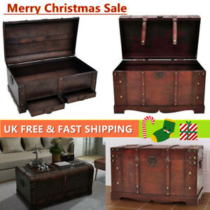 Details About Large Mocha Trunk Wood Storage Wooden Treasure Chest Coffee Table Organizer Gift