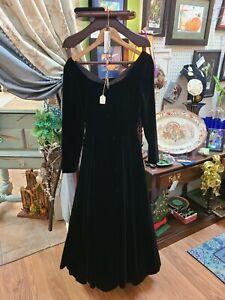 Vintage 1980s Laura Ashley Black Velvet Floor Length Dress