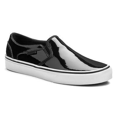 Vans Asher Lack Leder SchwarzWeiß Damen Schuhe NWB SZ; 6 8 Slip On | eBay