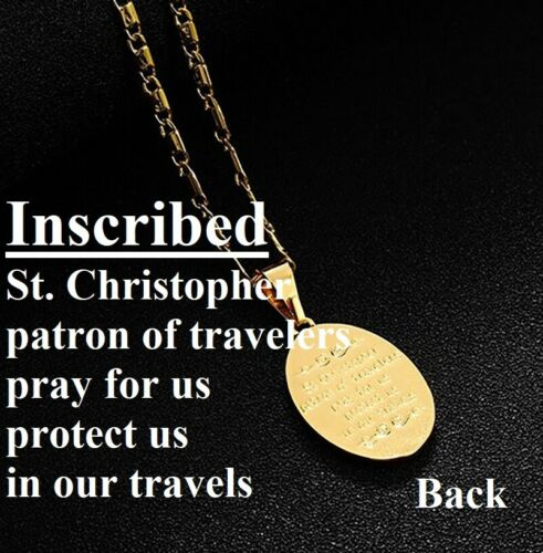 """18k Yellow Gold 18/"""" 20/"""" 24/"""" 30/"""" Bar Link Chain Oval Saint Christopher Necklace"""