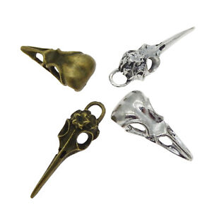 Pack-of-4-Mix-Gothic-Style-Bird-Skull-Look-Metal-Charms-Pendants-Craft-Findings