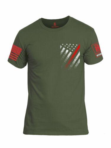 Battleraddle USA Rouge Ligne Fine Rouge Manche Imprimé homme à encolure ras-du-cou en coton T Shirt