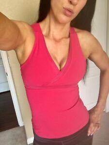 028df2c86437d LuLulemon Tank Top Shirt V Neck Mesh Yoga Athletic Pink Built In Bra ...