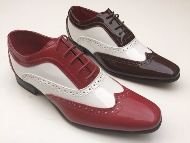MENS GUCIANI  2 TONE PATENT GANGSTER SPATS JAZZ PARTY BROGUES SHOES 7 8 9 10 11