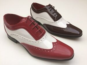 MENS-GUCIANI-2-TONE-PATENT-GANGSTER-SPATS-JAZZ-PARTY-BROGUES-SHOES-7-8-9-10-11