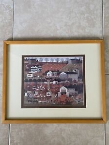 Vintage-Charles-Wysocki-BREAD-amp-BUTTER-FARMS-Print-Framed-Pumpkin-Patch-Fall