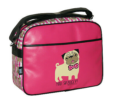 DAVID AND GOLIATH -YOU SO PUGLY CABIN/SCHOOL/COLLEGE/SPORTS SHOULDER BAG-FUSCHIA