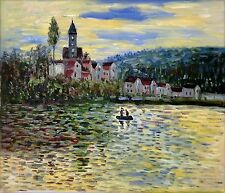 Claude Monet the Seine at Vetheuil Repro, Hand Painted Oil Painting, 20x24in