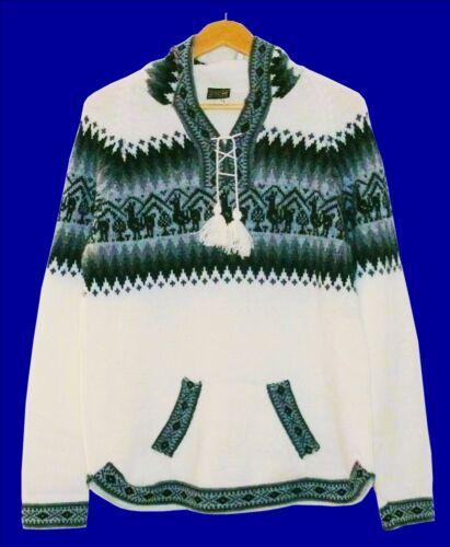 L 42*44 Lama Muster Inka Alpaca Wolle Warm Gr Peru Alpaka Pullover weiß