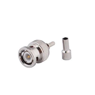 10x BNC Male Plug Straight Crimp For RG174 RG316 RG179 LMR100 RF Cable Connector