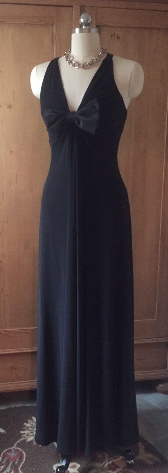CACHET Formal schwarz Jersey Evening Gown Bow And Criss Cross Back Straps Größe 4