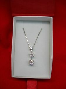 STERLING-SILVER-WITH-GLITTERING-CZs-PENDANT-amp-CHAIN-NICE