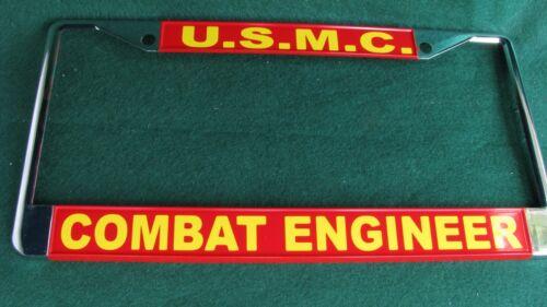 Military License Plate Frame-U.S.M.C COMBAT ENGINEER-#811718-Chromed Metal