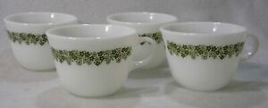 Set Of 4 Corelle Pyrex Crazy Daisy Spring Blossom Green 8 oz Coffee Or Tea Cups