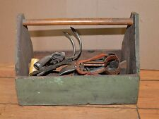 Antique garden tote with weeding cultivating farm sheep sheers collectible tools