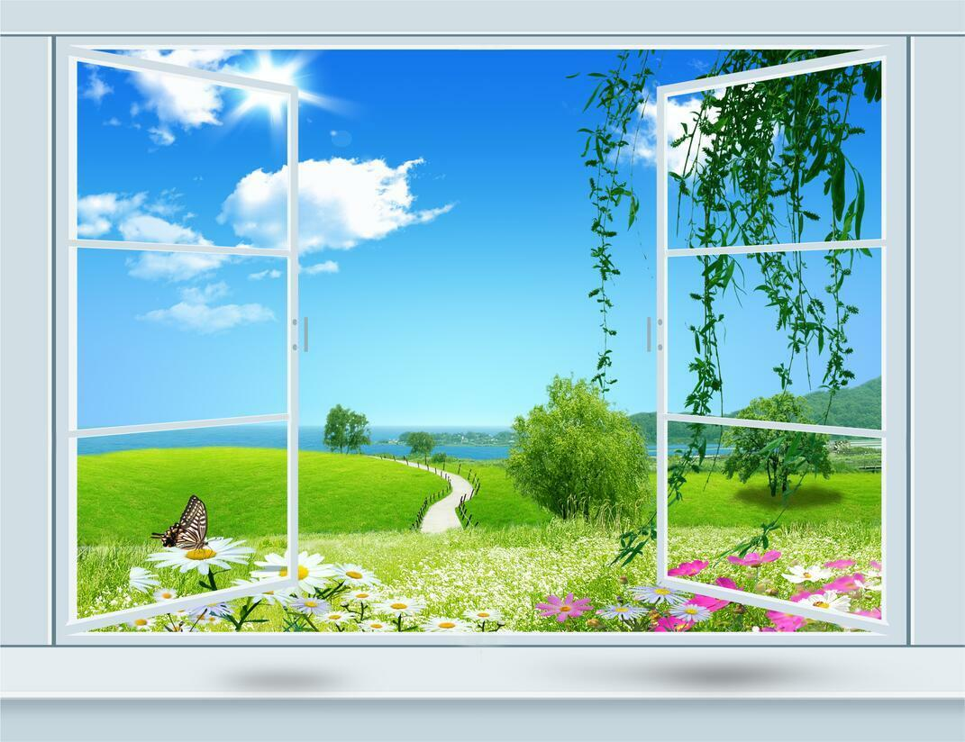 3D Fresh Window Scenery 256 Wallpaper Decal Dercor Home Kids Nursery Mural Home