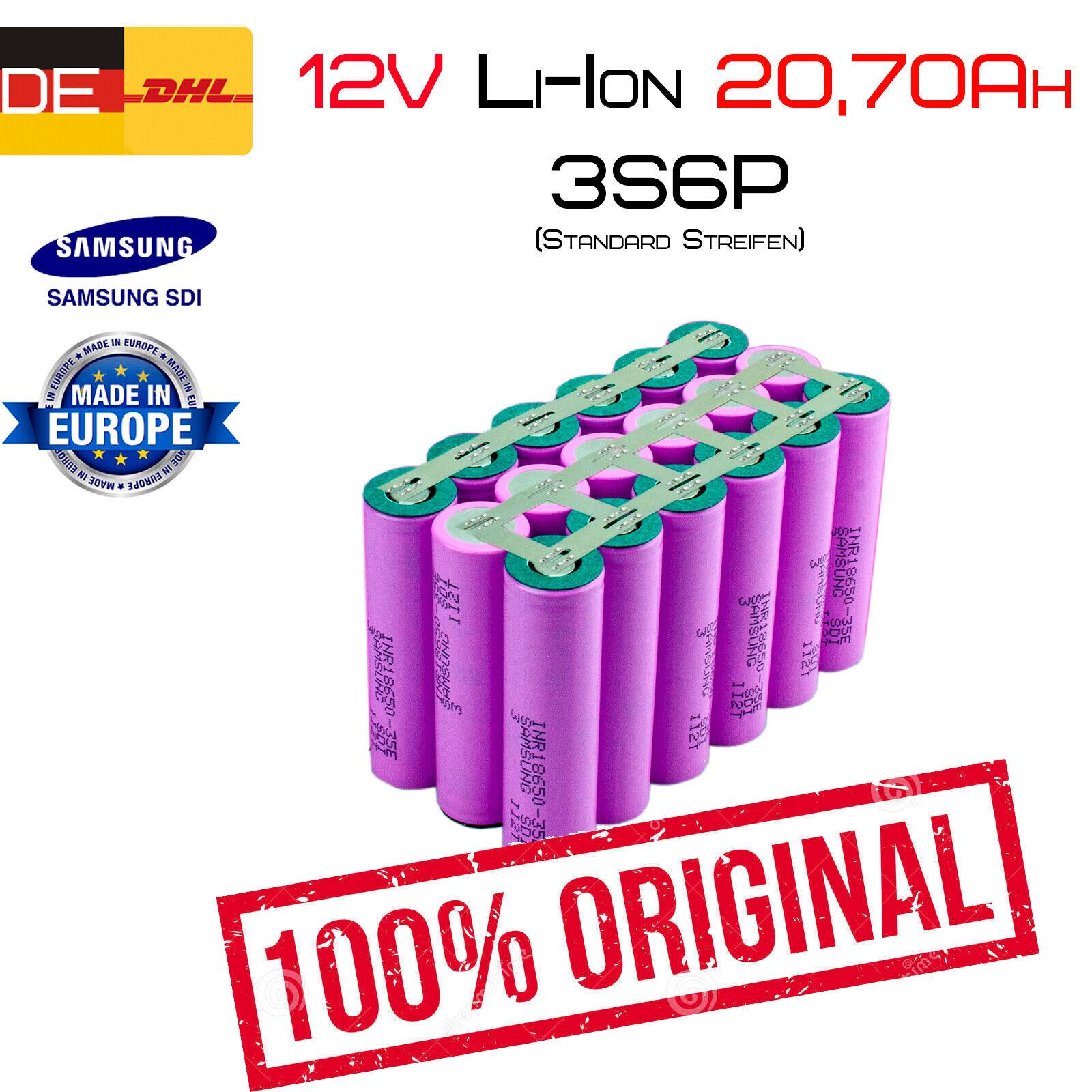 12v 20,70ah Li-ion conjuntos de baterías   3s6p   Samsung inr18650-35e