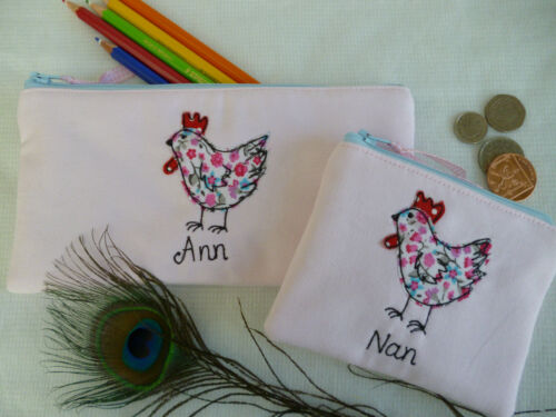 Personalised Hen Chicken Purse or Pencil Case Pink /& floral Choice of words Gift