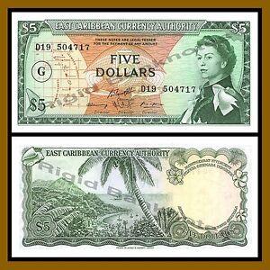 Aunc P 14 H East Caribbean States 5 Dollars 1965
