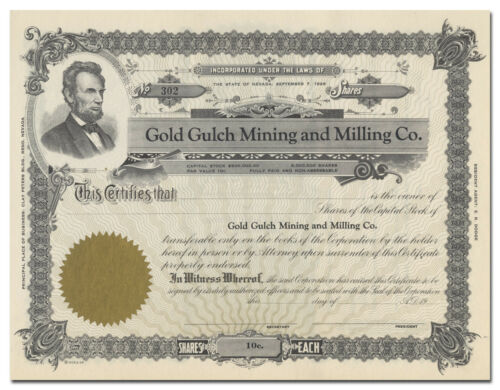 Stock Certificate Gold Gulch Mining and Milling Co