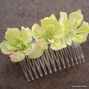 Triple yellow apple blossom silk flower hair combbridalluau image is loading triple yellow apple blossom silk flower hair comb mightylinksfo
