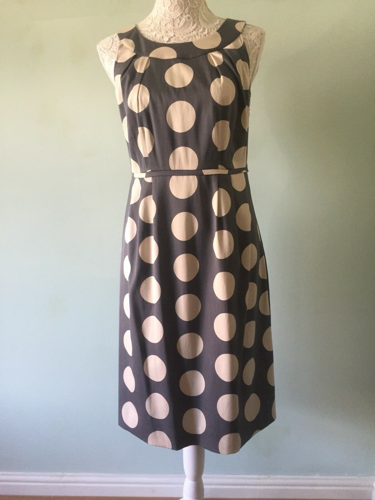 6  CYOB, Boden Dress, Size 10, Grey Ivory Spot, Cotton, Lined, Occasion, VGC