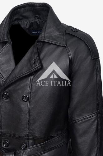 Cappotto maschile in pelle nera Pecora Reale Piena Lunghezza Lungo DB Trench 6965