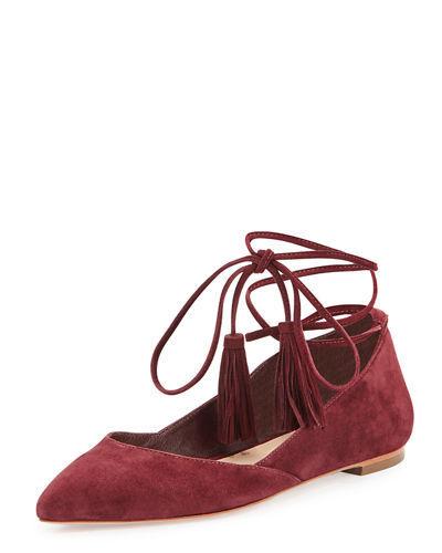 Loeffler Randall PENELOP Bordeaux Suede Lace Up Flats, Wms Sz 6.5. Retails 295