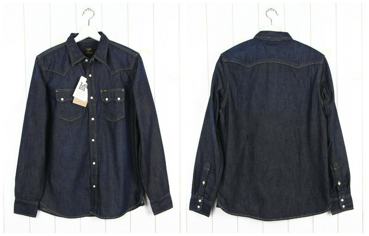 NEW LEE 101 SAW DENIM SHIRT  HEAVY DENIM  DARK blueE REGULAR FIT S M L XL