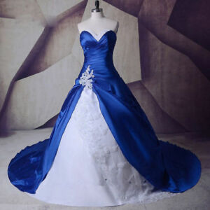 Details about Blue White satin Ball Gowns Bridal Wedding Dresses Strapless  Plus Size 2-26W