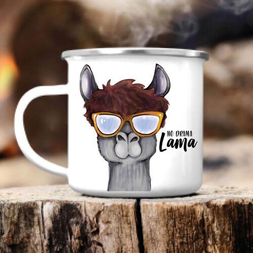 Campingbecher No Drama Lama Spruch Emaille Outdoor Kindertasse Geschirr CB348
