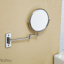 Chrome Finish Mirror 180-Degree Rotating Wall Mount Silver Bathroom Accessory