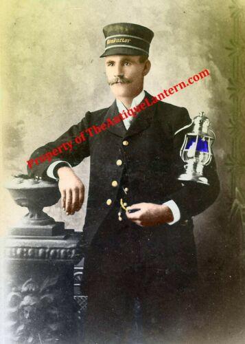 Antique colorized Photo Print Railroad conductor  lantern rr  Hi-Res 8x12 copy
