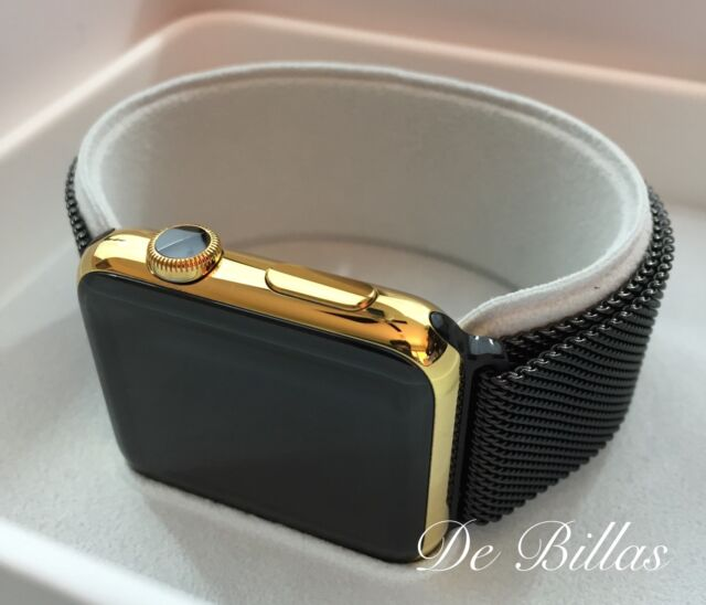 quality design 8823e a8b2a 24k Gold Plated 42mm Apple Watch With Black Milanese Loop Band Bracelet  Custom