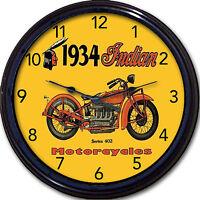 Indian Motorcycle Wall Clock 1934 Chopper Hog Biker Munro Easy Rider Garage 10