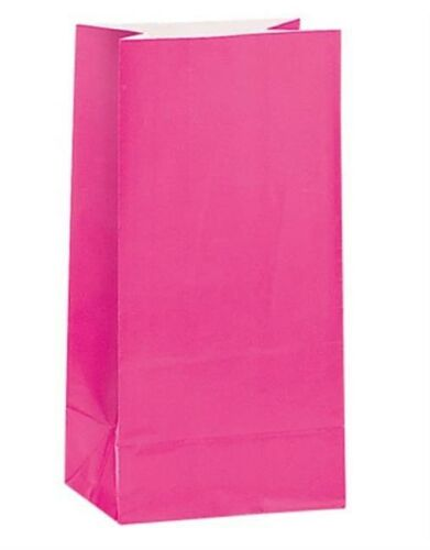 12 Hot Pink Party Paper Loot Gift Goody Bags Birthday Wedding Supplies