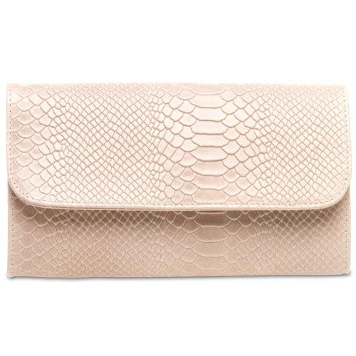 CASPAR TL722 Women Girls Evening Clutch Bag Genuine Leather Suede Croco Look NEW