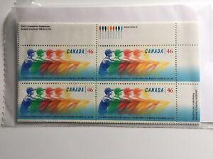 Canada Postage Stamp WORLD ROWING Inscription Corner Block Set 46 MNH #1805 1999