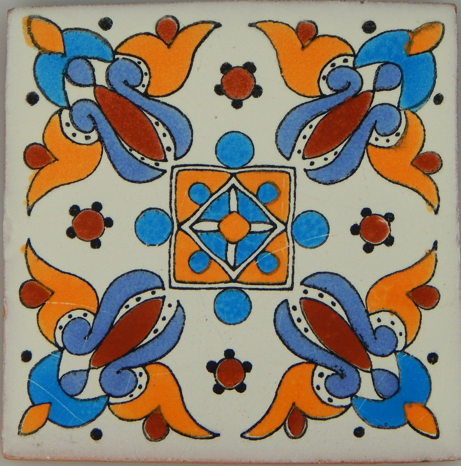 C288- Mexican Handmade Talavera Clay Tile Folk Art 4x4