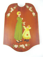 Wooden Paddle Wood Hand Painted Antique Vintage Woman Girl Button Up Shoes MI106