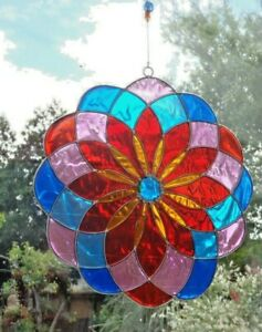 15MULTI-COLOUR-MANDALA-SUN-CATCHER-15cm-STAINED-GLASS-EFFECT