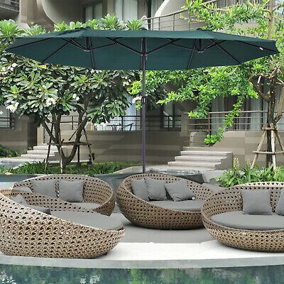 Sun Umbrella Canopy Garden Double-sided Crank Sun Shade 2 colors 4.6M
