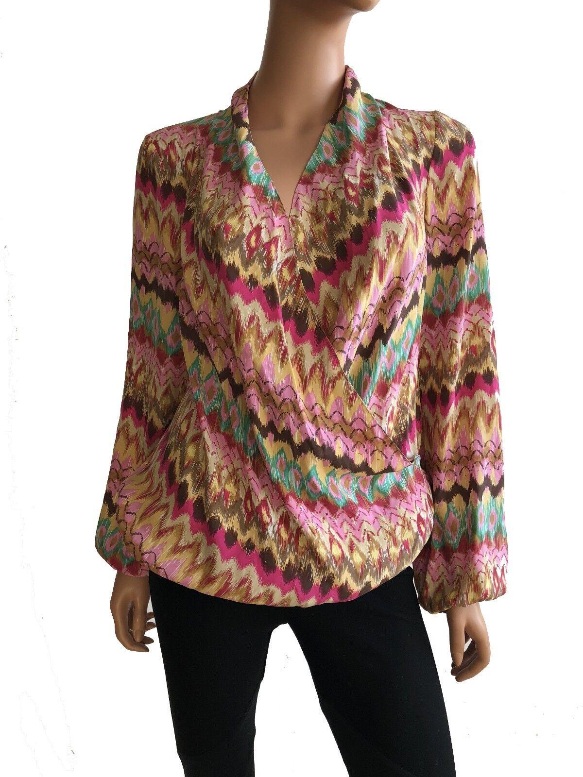 Haute Hippie Multi Farbe Drape Front Long Sleeve Silk Blouse Größe S