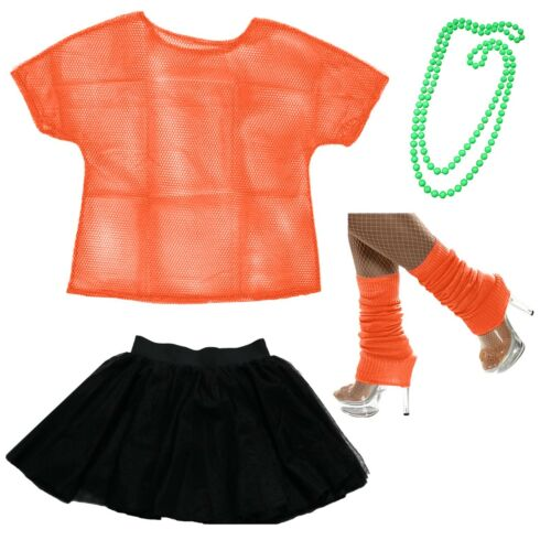 Ladies 1980/'s Fancy Dress Costume 80s Top Tutu Madonna Hen Night party outfit