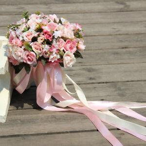 Details About Pink White Wedding Bouquet Handmade Artificial Flower Rose Bridal Bouquet Decor