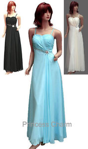 Blue-Black-Ivory-Chiffon-Formal-Evening-Bridesmaid-Dress-Gown-Plus-Size-22-to-10